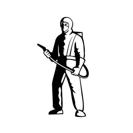 Illustration of an industrial worker, healthcare, essential or pest exterminator wearing a respiratory protective equipment, fumigating spraying disinfectant standing in black and white retro style. 일러스트