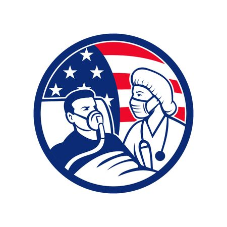 Icon illustration of an American nurse, medical doctor, healthcare professional wearing surgical mask caring for infectious  patient with USA stars and stripes flag in retro style.