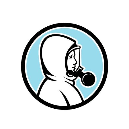 Mascot icon illustration of a healthcare worker, medical professional, nurse or industrial worker wearing a respiratory protective equipment, RPE viewed from side set in circle done in retro style.
