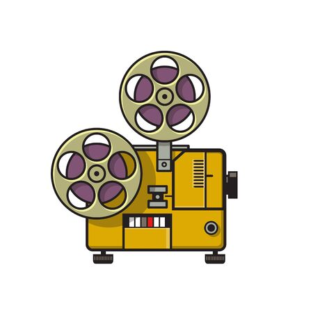 Retro style illustration of a vintage movie film reel projector viewed from side done in full color on isolated background.