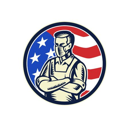 Mascot illustration of a food worker, grocery, supermarket, front line or essential worker, wearing an apron and face mask as a hero with USA stars and stripes flag set in circle retro woodcut style.