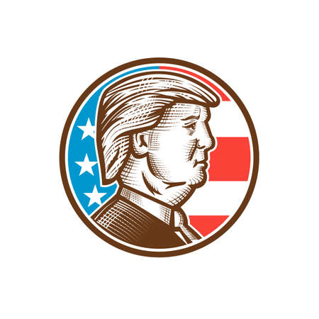 May 5, 2020, AUCKLAND, NEW ZEALAND: Mascot illustration of American presidential candidate for 2020 US election, Republican Donald J Trump set in circle done in retro woodcut style. 新闻类图片