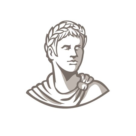 Mascot icon illustration of bust of an ancient Roman emperor, senator or Caesar, ruler of the Roman Empire during the imperial period wearing crown of laurel leaves on isolated background retro style.