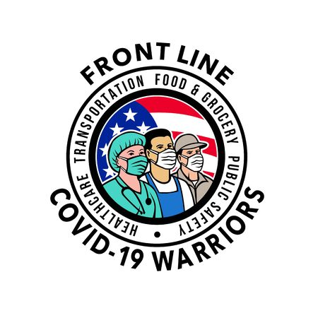 Mascot icon illustration of American medical professional, nurse, doctor, healthcare, soldier or essential worker wearing mask with USA stars and stripes flag with words Front Line Covid-19 Warriors.