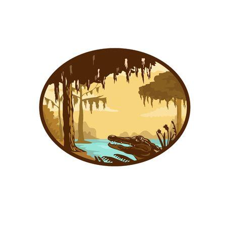 Illustration de style wpa rétro d'un bayou, d'un marais ou d'une zone humide typique de l'état de Louisiane et du sud-est américain avec un alligator ou un gator situé à l'intérieur d'un ovale sur fond isolé. Vecteurs