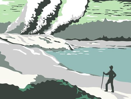 Retro WPA illustration of the bubbling mud pools, shooting geysers and natural hot springs of Rotorua, New Zealand done in works project administration or federal art project style.