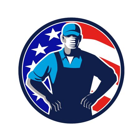 Illustration of an American supermarket, grocer or grocery worker wearing a surgical face mask, hat and overalls arms folded with USA stars and stripes flag set in circle done in retro style. Çizim