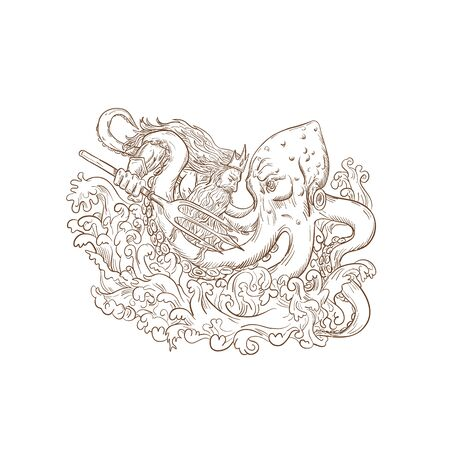 Drawing sketch style illustration of Roman god Neptune or Poseidon, Greek god of the sea, with trident and crown fighting a Kraken, giant octopus on isolated white background.