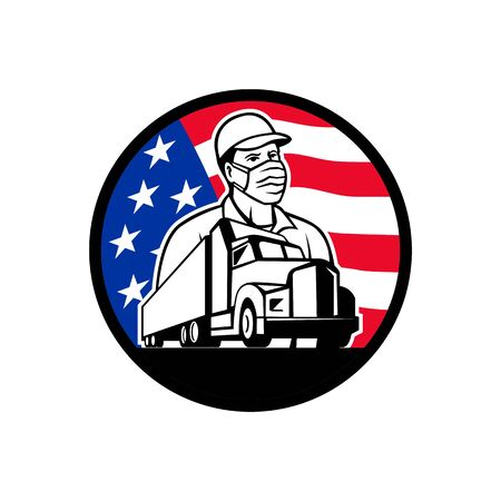 Mascot icon illustration of an American trucker or truck driver wearing surgical mask with semi-truck and USA stars and stars flag set inside circle on isolated background in retro style. Vetores