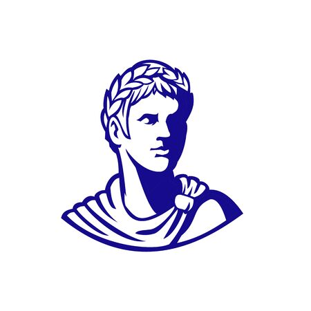 Mascot icon illustration of bust of an ancient Roman emperor, senator or Caesar, ruler of the Roman Empire during the imperial period wearing crown of laurel leaves looking to side in retro style.