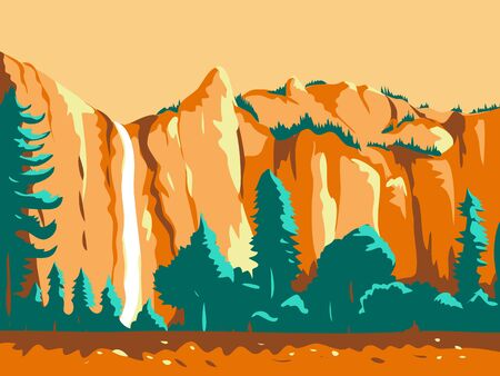 Retro WPA illustration of the Bridal Veil Falls in Yosemite National Park, California, United States of America done in works project administration or federal art project style.