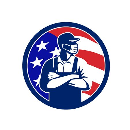 Illustration of an American grocer, supermarket or grocery worker wearing a surgical face mask, hat and overalls arms folded with USA stars and stripes flag set inside circle done in retro style.