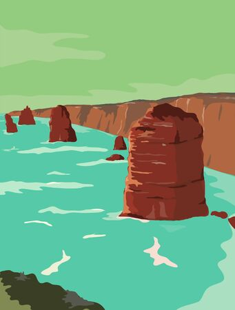 Retro WPA illustration of Twelve Apostles, limestone stacks off Port Campbell National Park, by Great Ocean Road in Victoria, Australia in works project administration or federal art project style.