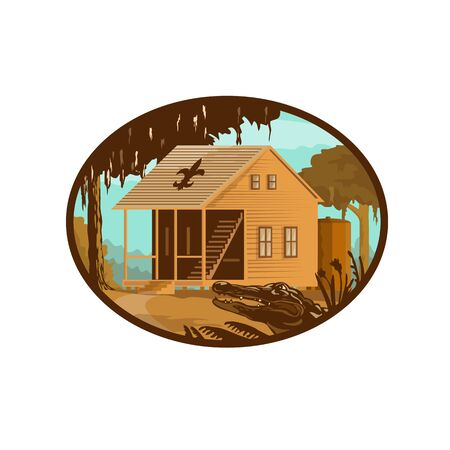 Retro wpa style illustration of a typical Cajun house, a country French architecture found in Louisiana and across the American southeast and alligator or gator set inside oval on isolated background.