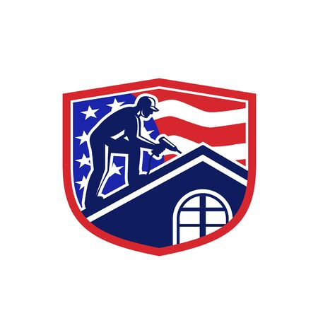 Illustration of an American roofer construction worker working on roof with hand drill and USA stars and stripes flag viewed from side set inside shield crest done in retro style.
