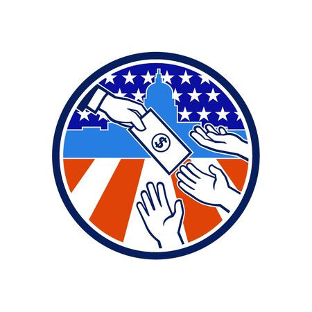 Icon retro style illustration of the American government stimulus or economic impact payment showing a hand giving money to recipient with the United States Capitol building and flag inside circle.  イラスト・ベクター素材