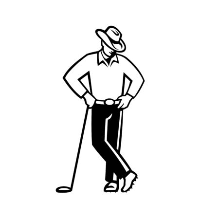 Illustration of a cowboy golfer wearing a hat leaning on golf club viewed from front on isolated background done in black and white in retro style.
