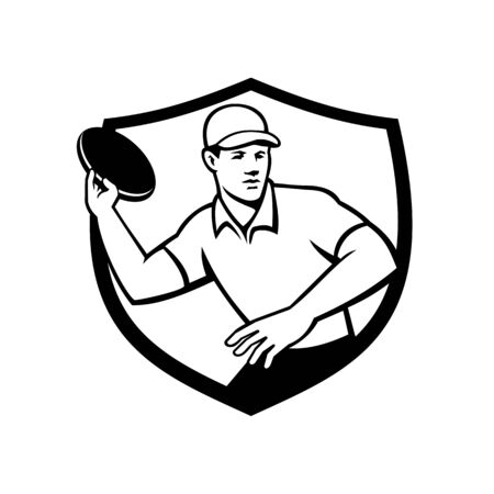 Mascot icon illustration of an disc golf player throwing a flatball or frisbee set inside crest or shield shape viewed from front on isolated background in Black and White retro style.