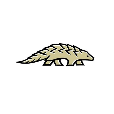 Mascot icon illustration of a pangolin also known as scaly anteater, a mammal covered in hard protective scales made of keratin, walking viewed from side on isolated background in retro style.