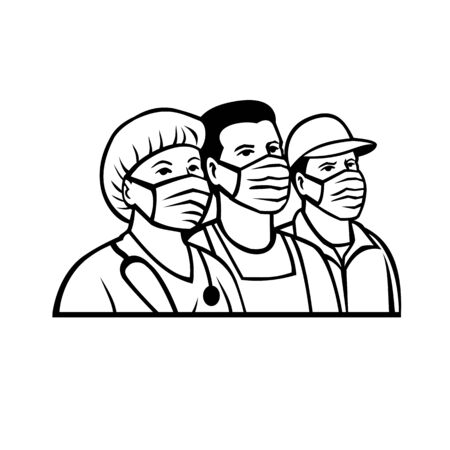 Mascot illustration of front line or essential worker like nurse, delivery, transportation, pharmacy, police, fire, postal, agriculture, EMS,  hospice workers wearing surgical mask in black and white.