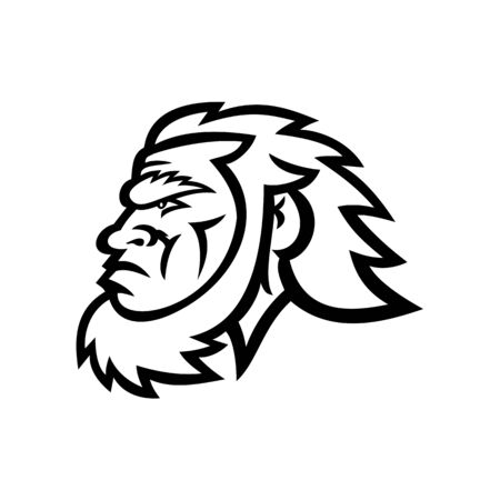 Mascot icon illustration of head of a primitive caveman, Cro-Magnon or neanderthal, an extinct species of archaic humans viewed from side in Black and White retro style. Иллюстрация