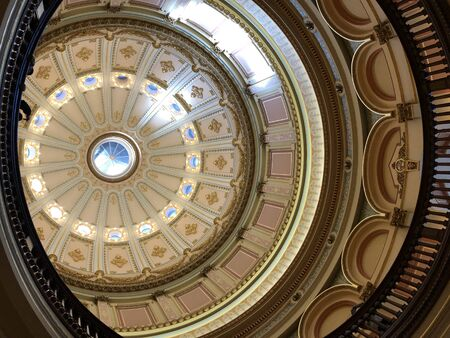 Photo of the California State Capitol dome interior,  home to the government of the U.S. state of California in  in Sacramento, California USA.