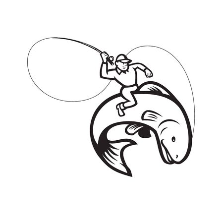 Illustration of a fly fisherman holding rod and reel riding trout fish set inside oval shape done in Black and White cartoon style on isolated background.