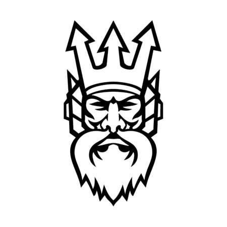 Mascot icon illustration of head of Poseidon, god of the Sea in Greek religion and myth, wearing a trident crown viewed from front on isolated background in retro black and white style.