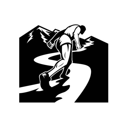 Retro style illustration of a silhouette of a marathon runner running and struggling to run uphill up to mountain top viewed from a low angle done in black and white.