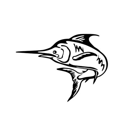Black and White retro style illustration of a blue marlin fish jumping up viewed from side set on isolated white background.