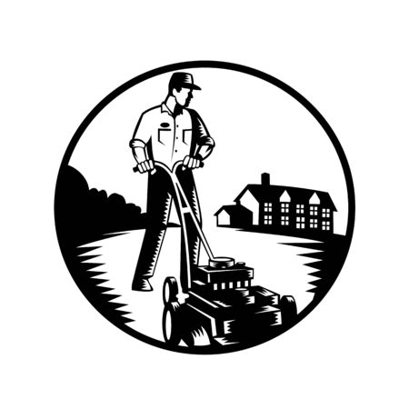 Illustration of a gardener with lawn mower mowing with residential house in background set inside circle done in retro woodcut Black and White style.