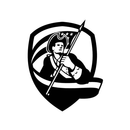 Black and White illustration of an American Patriot revolutionary soldier waving USA stars and stripes flag looking to side set inside shield crest on Independence Day done in retro style