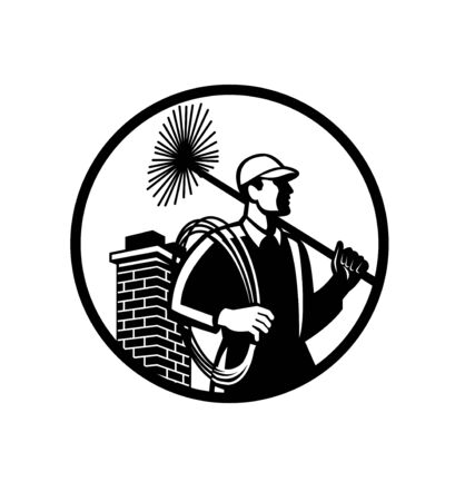 Illustration of a chimney sweep holding sweeper and rope viewed from side with chimney in back set inside circle on isolated background done in retro Black and White style.