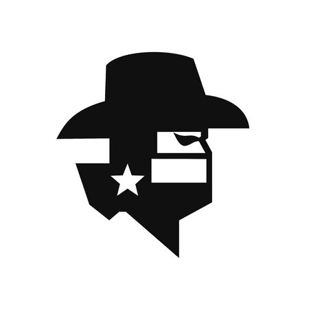 Black and White style illustration of head of Texan bandit or outlaw wearing a cowboy hat, mask or bandana withTexas Lone Star flag viewed from side on isolated background. Vector Illustration