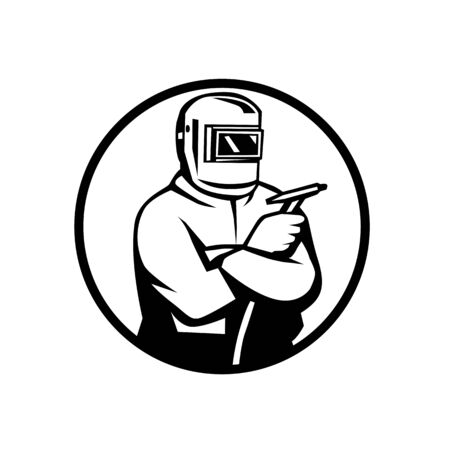 Retro black and white style illustration of an arc welder with tungsten inert gas tig welding torch arms crossed set inside oval on isolated background.