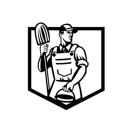 Illustration of a janitor cleaner worker holding mop and water bucket pail viewed from low angle set inside shield done in retro Black and White style.