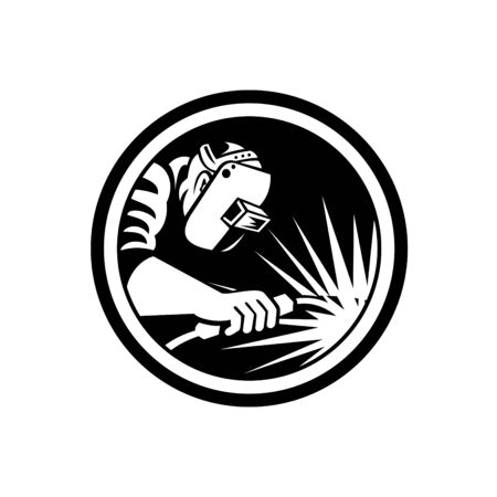 Illustration of welder worker working using welding torch viewed from side set inside circle on isolated background done in retro Black and White style.