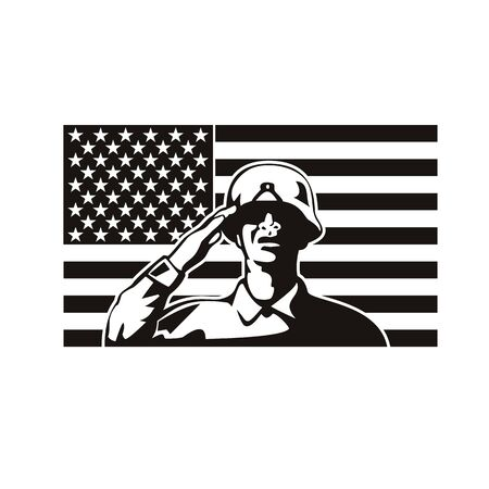 Illustration of an African American soldier military serviceman or veteran saluting with USA stars and stripes in the background during Memorial Day set inside circle done in retro style.