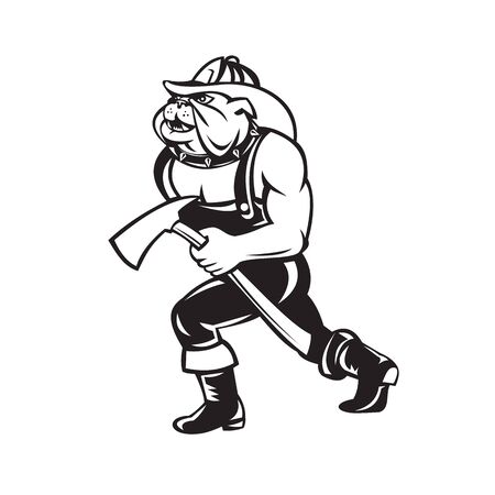 Cartoon style illustration of a bulldog fireman or firefighter walking carrying a fire axe viewed from side done in black and white. Illustration
