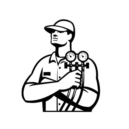 Illustration of a heating and cooling technician or refrigeration and air conditioning mechanic holding a pressure temperature gauge front view done in Black and White retro style.