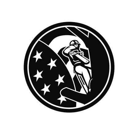 Illustration of  arborist , lumberjack or tree surgeon holding a chainsaw climbing up and trimming tree with USA stars and stripes flag set in circle done in retro black and white style.