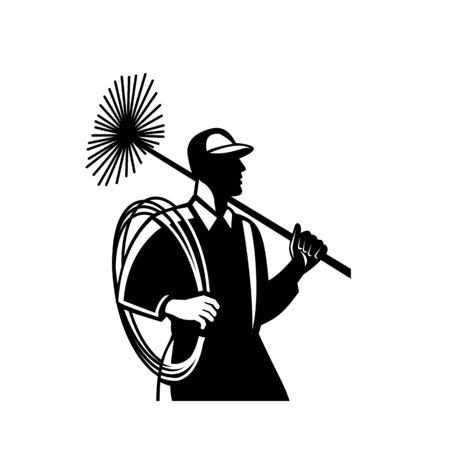 Illustration of a chimney sweeper cleaner worker with sweep broom viewed from side set on isolated white background done in retro Black and White style.