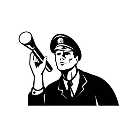 Illustration of a law enforcement police officer policeman security guard holding a flashlight or torch set inside circle done in retro Black and White style on isolated white background. Vektorgrafik