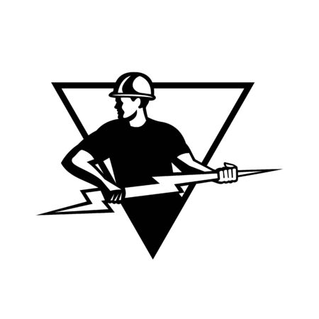 Retro Black and White style illustration of a power lineman or electrician holding a lightning bolt or thunderbolt viewed from side set inside triangle on isolated background.