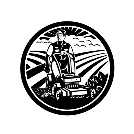 Illustration of a Landscaper gardener riding on a vintage ride-on lawn mower set inside circle with field farm clouds sunburst in the background done in retro Black and White style.