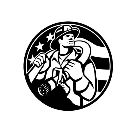 Black and White Illustration of an American fireman firefighter or fire and emergency worker holding fire hose over his shoulder with USA stars and stripes flag set in circle done in retro style.