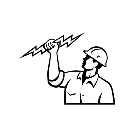 Illustration of an electrician power lineman or construction worker holding a lightning bolt viewed from side done in retro style in isolated white background in black and white.