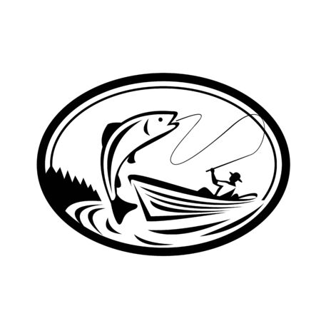 Black and White Illustration of a fly fisherman fishing on boat reeling a trout salmon fish set inside oval shape done in retro style.