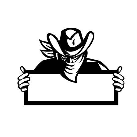 Retro style Black and White illustration of an outlaw or bandit wearing face mask bandana covering his face holding a sign on isolated background.