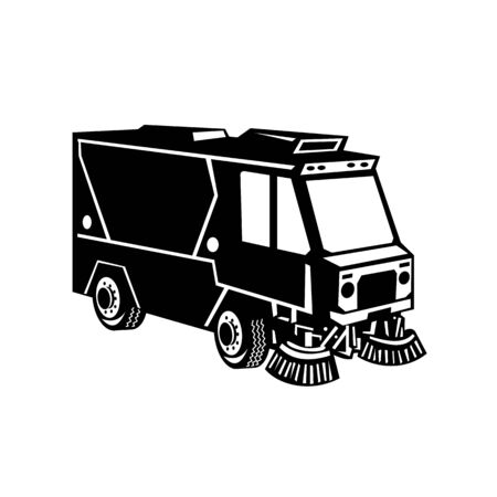 Illustration of a street cleaner truck sweeping cleaning viewed from side set on isolated background done in retro Black and White style.